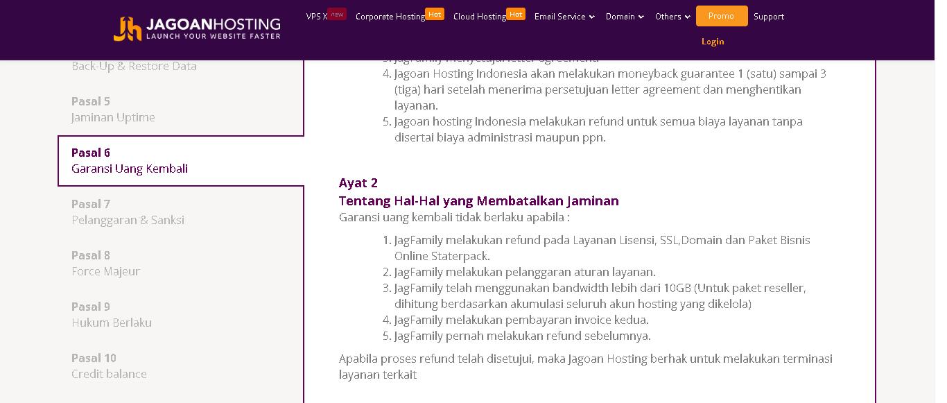 garansi 30 hari jgaonhosting indonesia