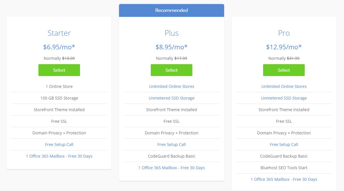 Bluehost eCommerce Hosting Plans