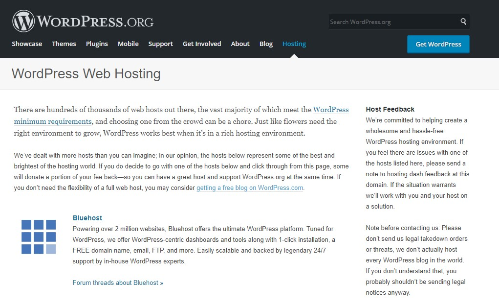 Bluehost is Officially recommended by WordPress.org