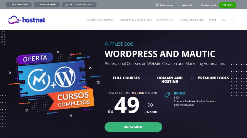 Hostnet Homepage Brasil