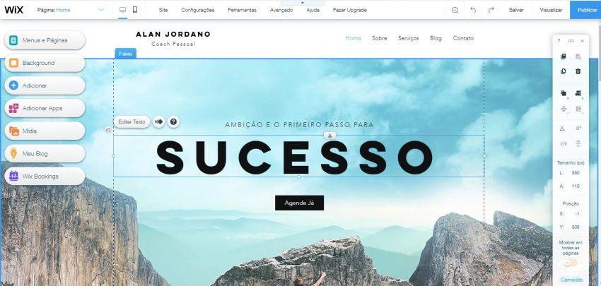 Mudando a aparência do seu site com o Criador de Sites Wix