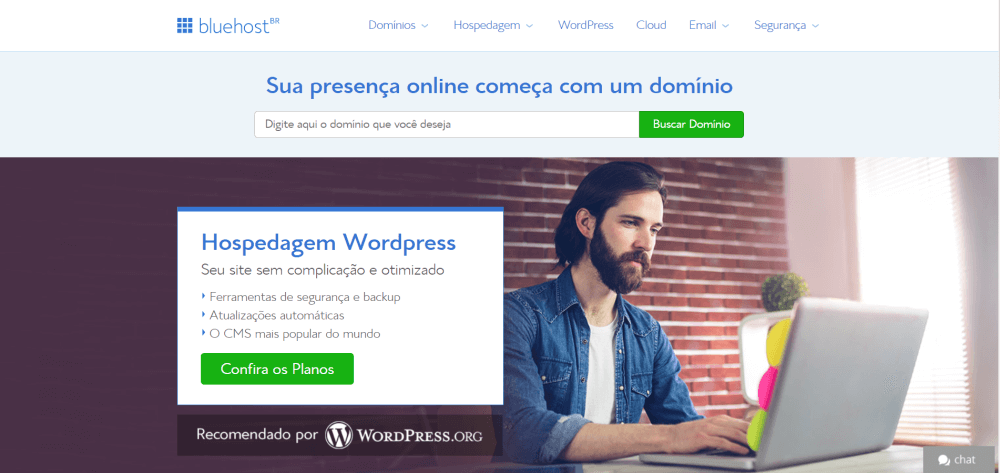 bluehost homepage brazil