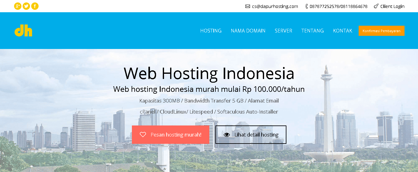 dapur hosting front page indonesia