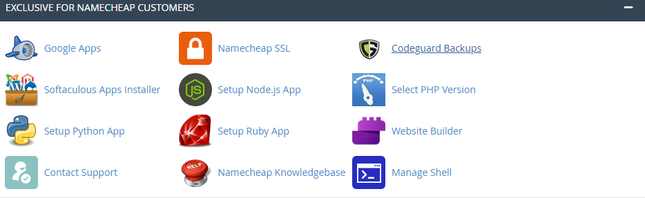 Namecheap Control Panel
