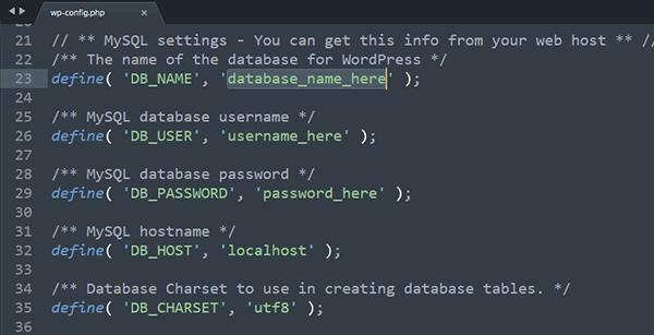 Edit database_name_here to Database Name