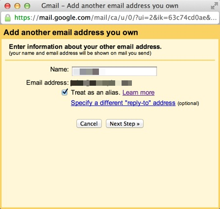 Enter Name for outgoing emails