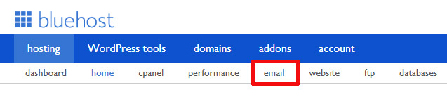 Navigate to Email Configuration on Bluehost