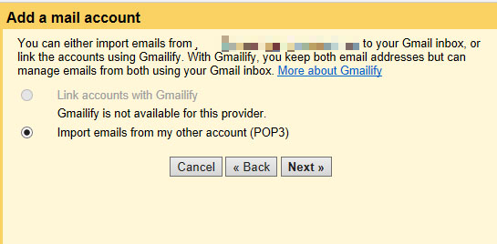 Select Import emails from my other account (POP3)