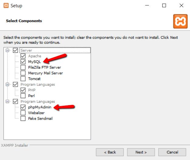 Select components to setup XAMPP