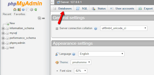 click on the Databases tab from phpMyAdmin