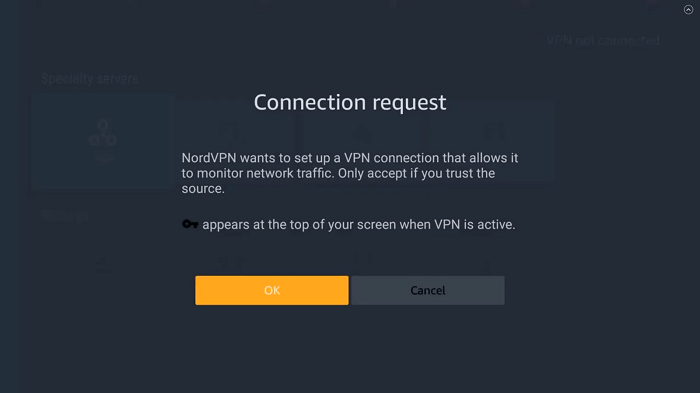 popup asking connection request