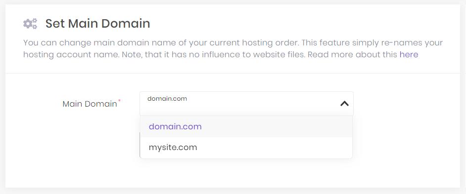 set main domain hostinger