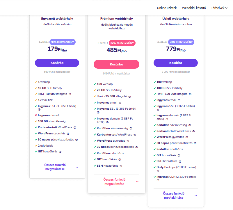 Hostinger árak