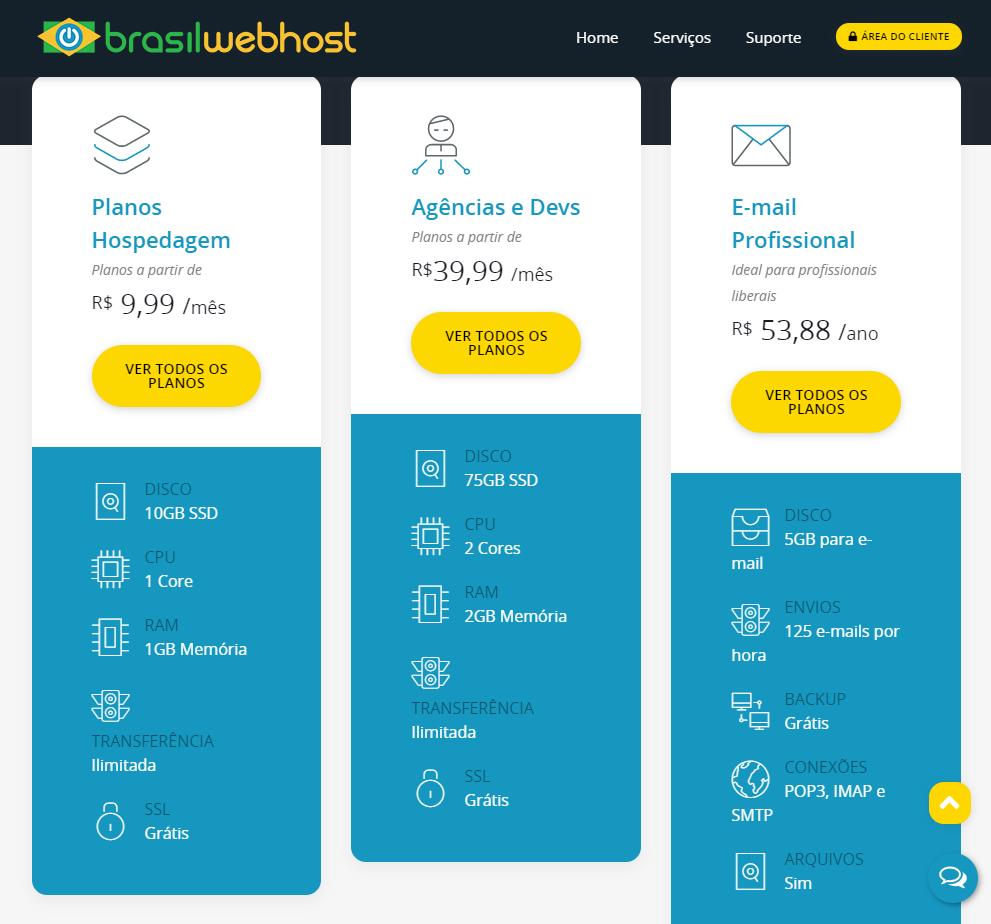 Planos e recursos de hospedagem Brasil Web Host