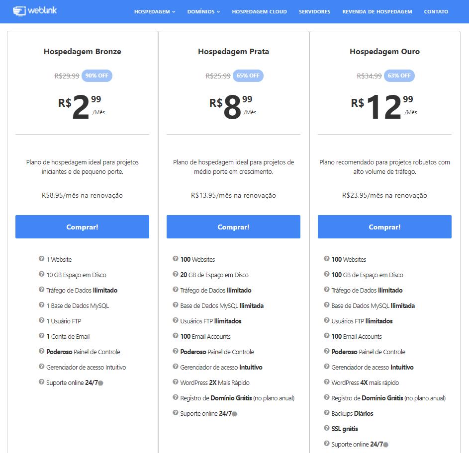Planos e recursos de hospedagem WebLink