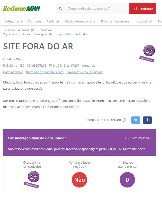 Sites instáveis ou fora do ar hoteldaweb