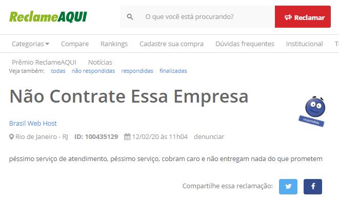 coisas da Brasil Web Host que poderiam melhorar