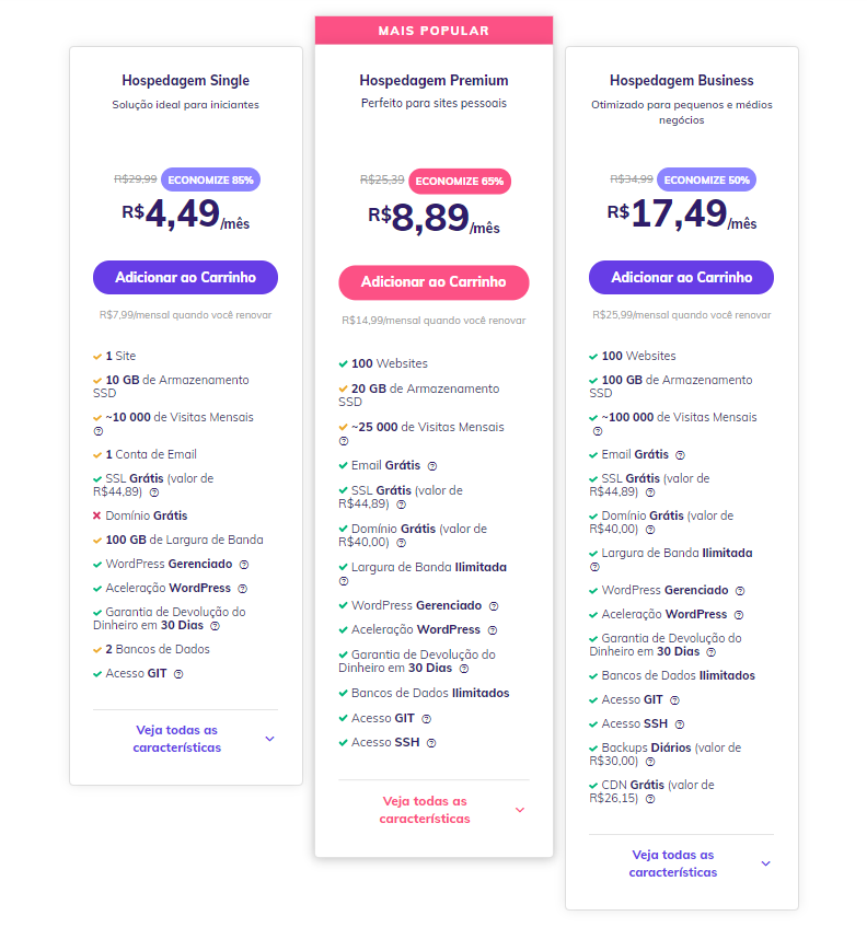 planos de Hospedagem de Sites da hostinger