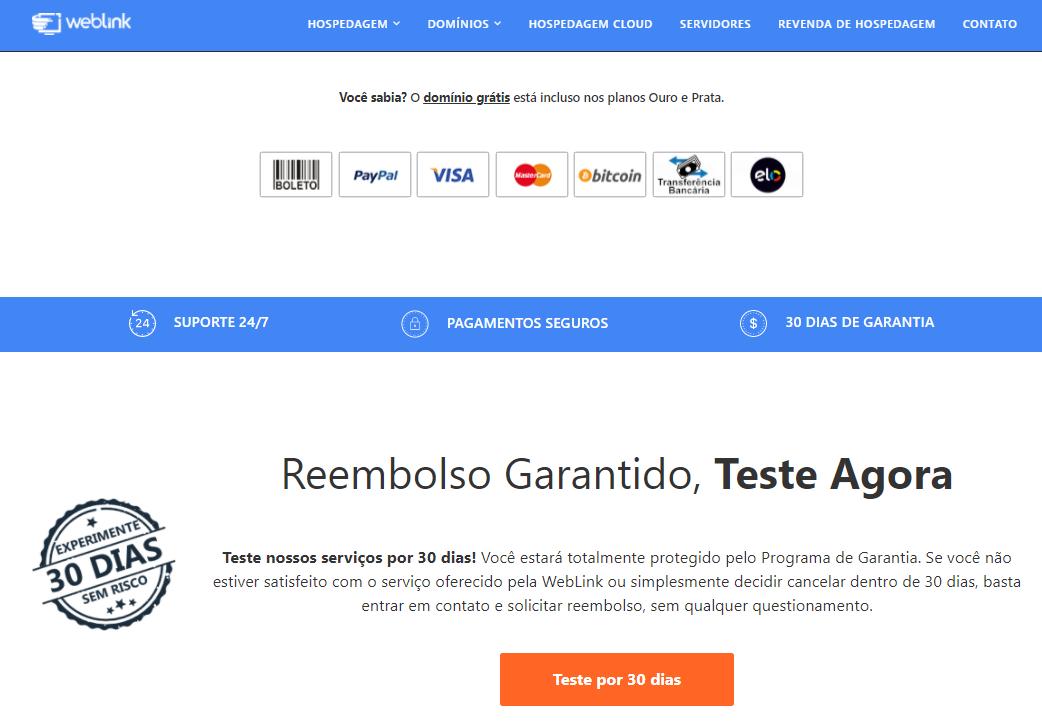 weblink Garantia de reembolso em até 30 dias