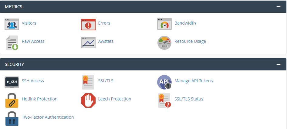 Metrics and Security cpanel hosting